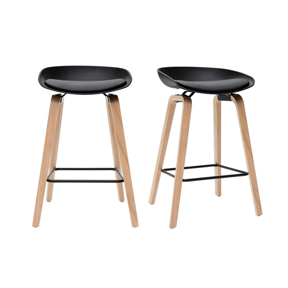 tabourets de bar noir et pieds bois 65