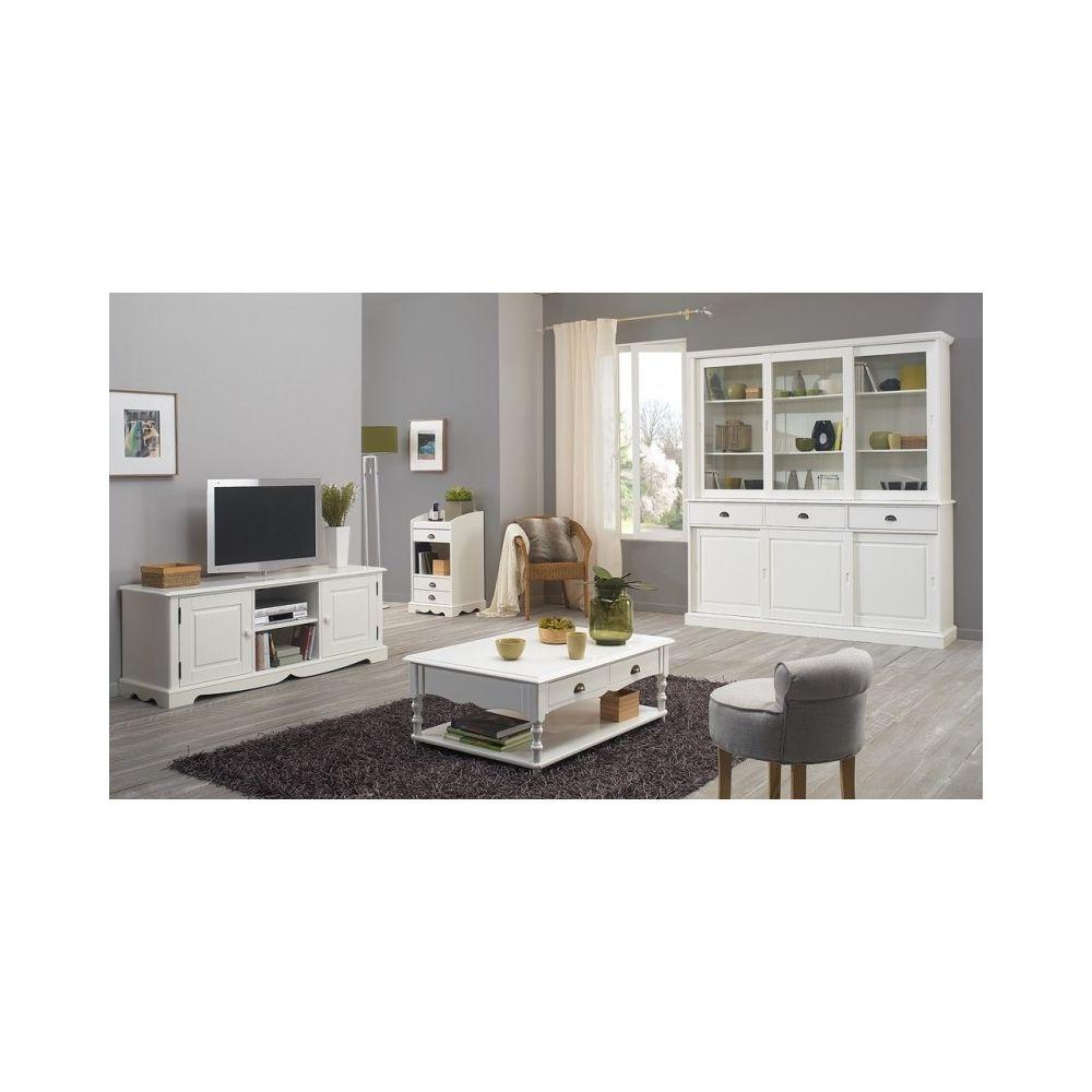 meuble tv hifi blanc 2 portes 142 cm