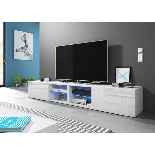 vivaldi meuble tv hit 2 double 200 cm blanc mat blanc brillant led