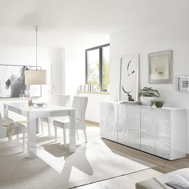 salle a manger design blanc laque buffet 180 cm nerina