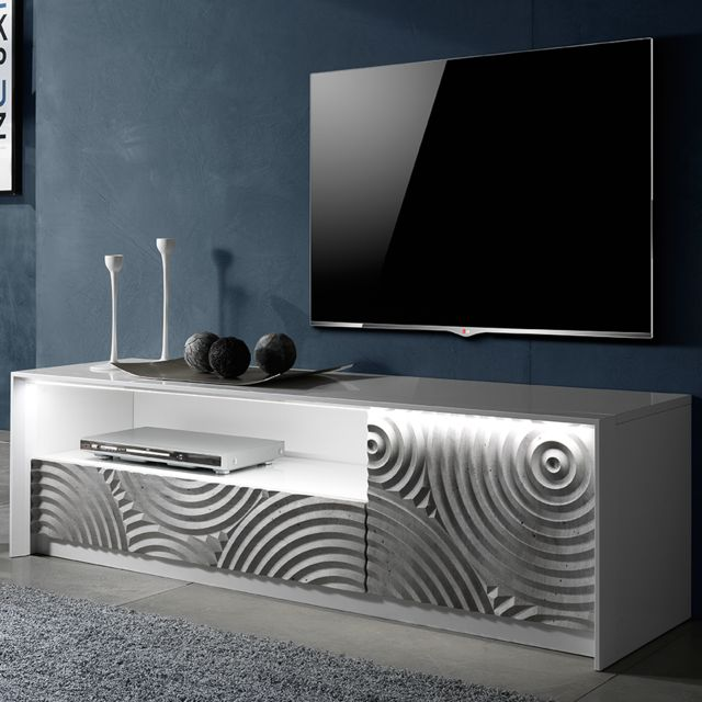banc tv 150 cm blanc et gris design torio