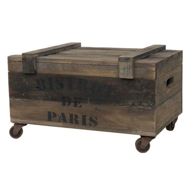 grand coffre bois malle bois roulettes 74 cm x 45 cm x 38 50 cm