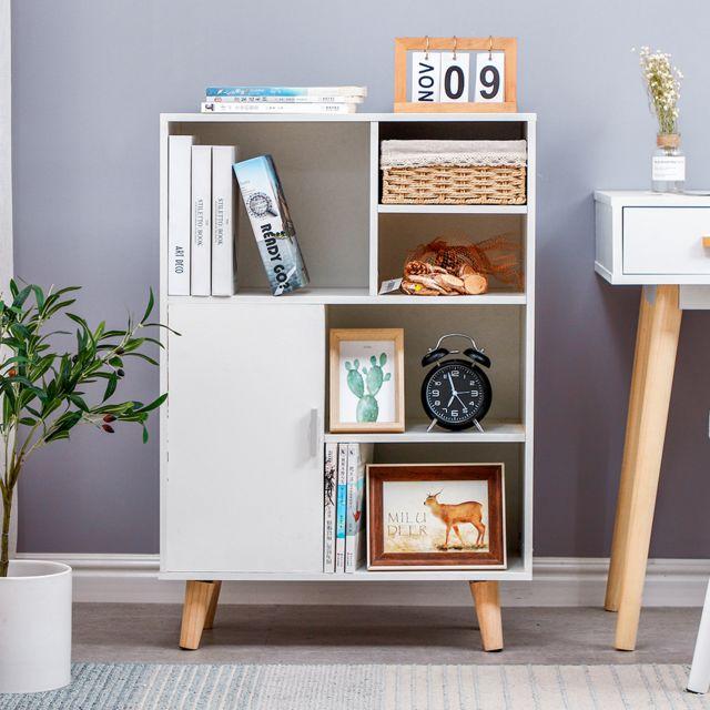 meubles de rangement en bois 5 etageres 1 porte pour salon bureau chambre