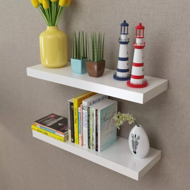 admirable etageres reference canberra 2 etageres murales en mdf blanc pour