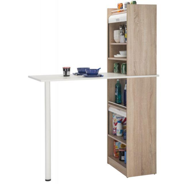 table de cuisine et 2 meubles de rangement chene coloris blanc