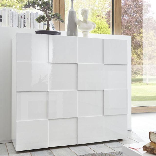 vaisselier 2 portes laque blanc brillant ticato