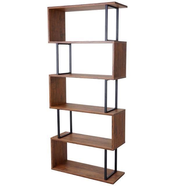 bibliotheque dohna etagere independane 183x80cm structure 3d 5 niveaux