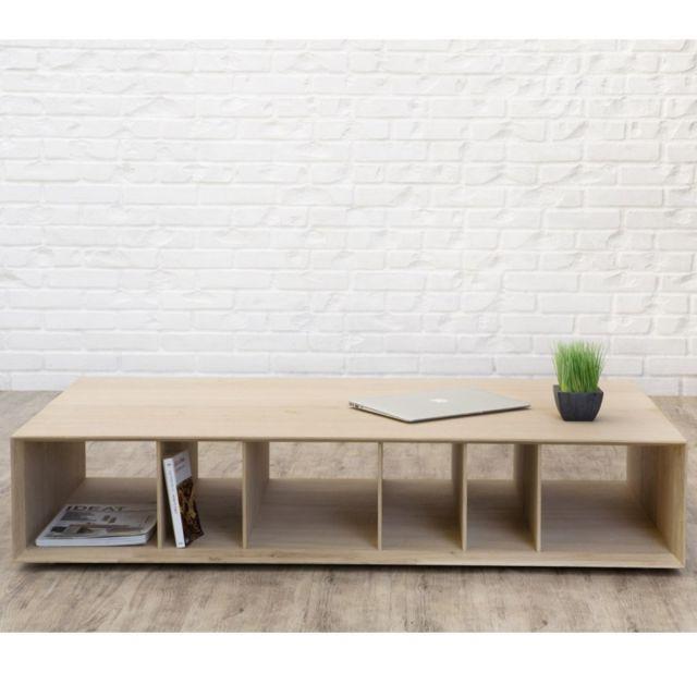 table basse moderne epure 130cm naturel