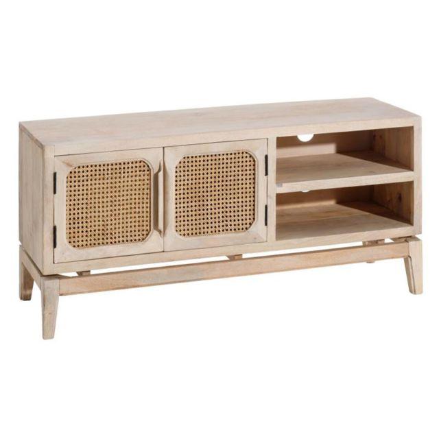 meuble tv 2 portes 2 niches bois bambou maluhia
