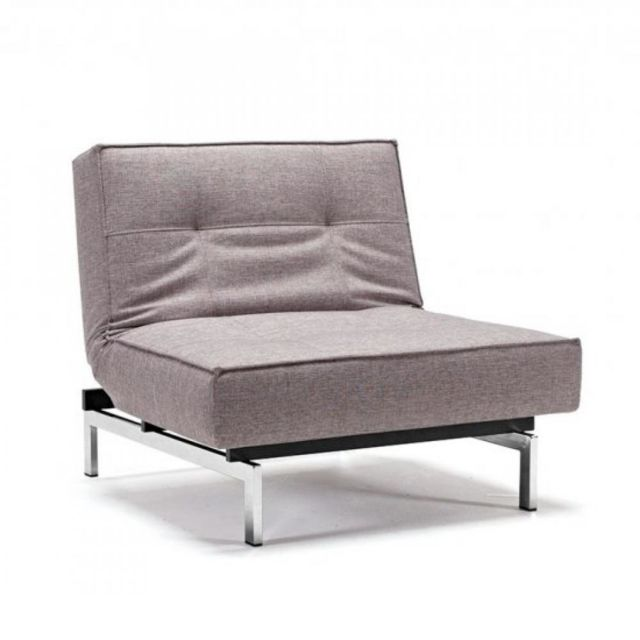 innovation living fauteuil design splitback chrome tissu mixed dance grey
