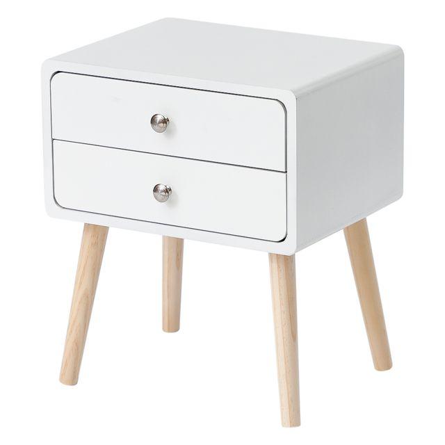 jeobest table de chevet simple scandinave avec tiroirs coulissants table de