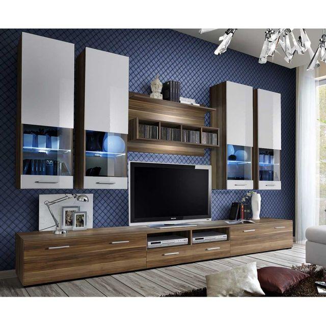 meuble tv mural design dorade 300cm prunier blanc