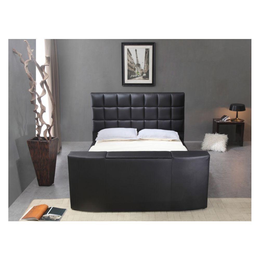 160x200cm simili noir cadres de lit