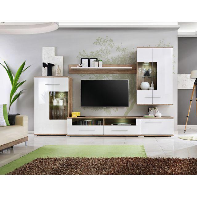 sohalia grand ensemble laque 3 1m salon tv leds scandinave