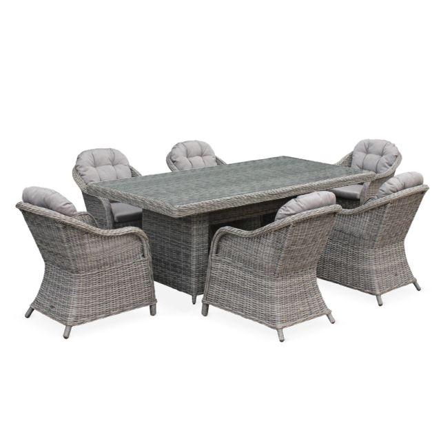 table de jardin en resine tressee arrondie lecco gris coussins beige 6