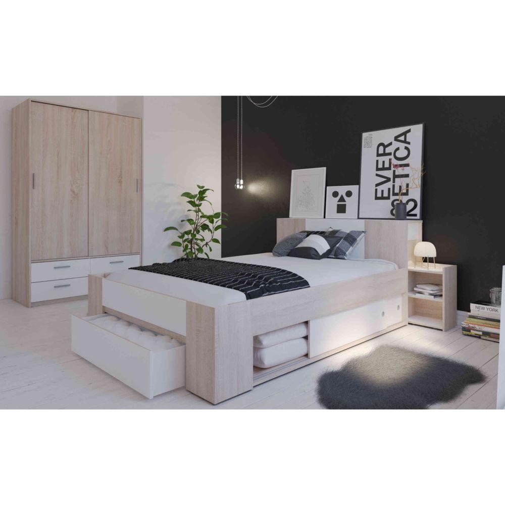 lit avec rangement en bois 140x190 200