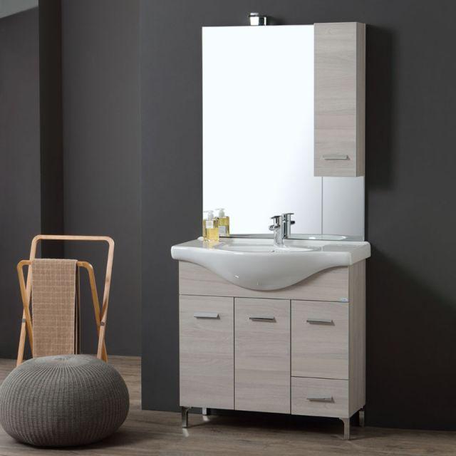 meuble de salle de bains de 85 cm sur pieds chromes chene blanc rimini