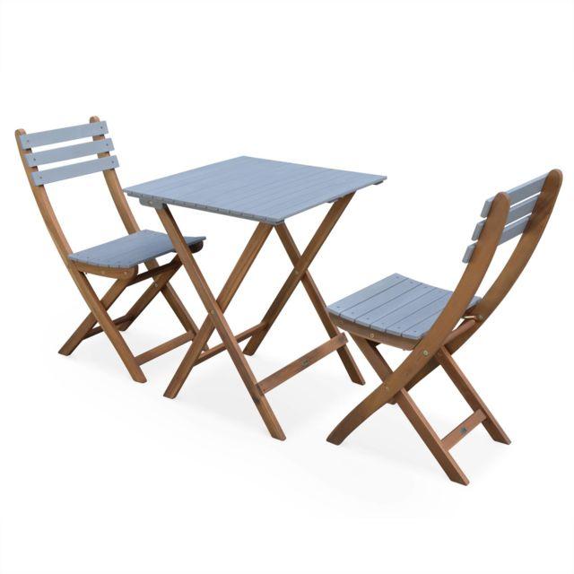 table de jardin en bois 60x60cm barcelona bois gris clair table bistrot
