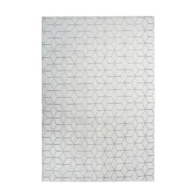 tapis shaggy effet 3d vivica blanc anthracite 120 x 160 cm