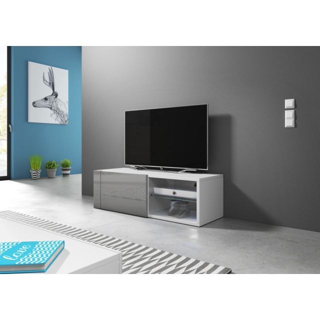 vivaldi meuble tv hit 2 100 cm blanc mat gris brillant style design