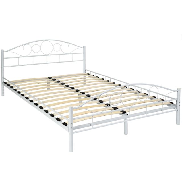 tectake lit adulte 2 places 140 cm x 200 cm en metal avec sommier a lattes