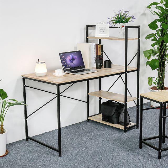 bureau informatique avec etageres des livres l120 l64 h121 cm noir et