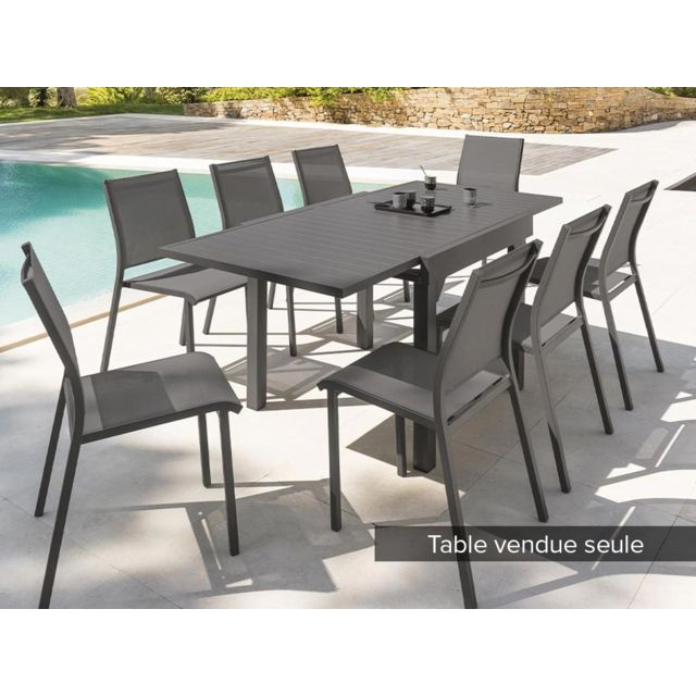 table extensible carree alu piazza 4 8 places gris quartz hesperide