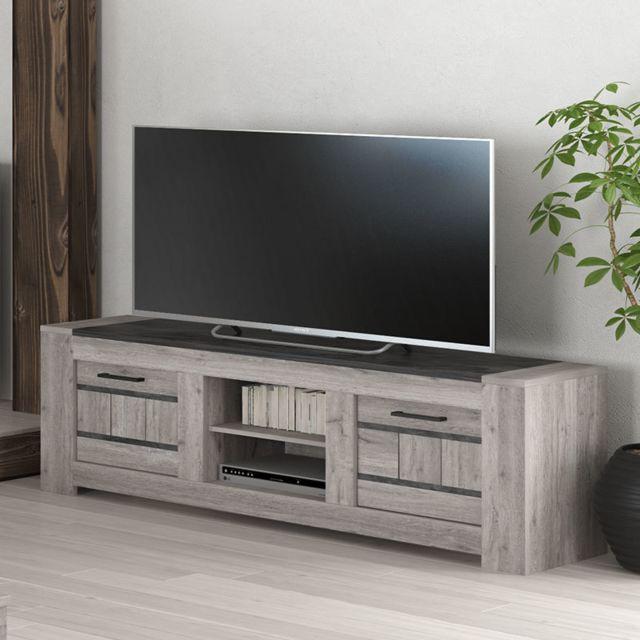 meuble tv 155 cm moderne couleur chene gris camelia