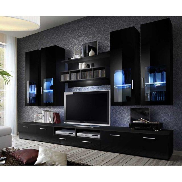 meuble tv mural design lyra 300cm noir