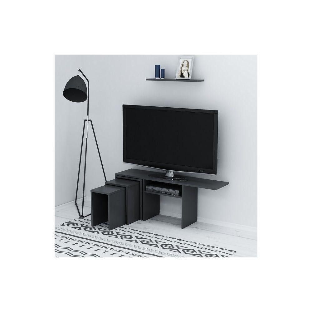 homemania homemania peri meuble tv avec table basse portes etageres pour le salon anthracite en bois 120 6 x 29 5 x 49 cm
