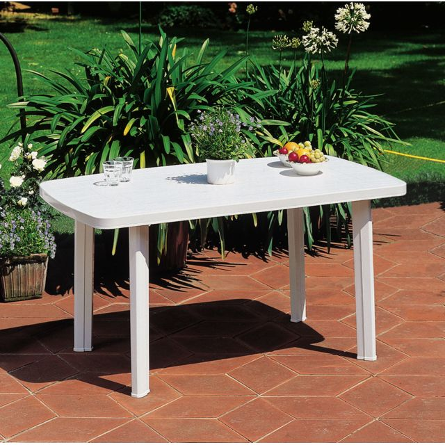 faro table de jardin rectangulaire blanc 909908