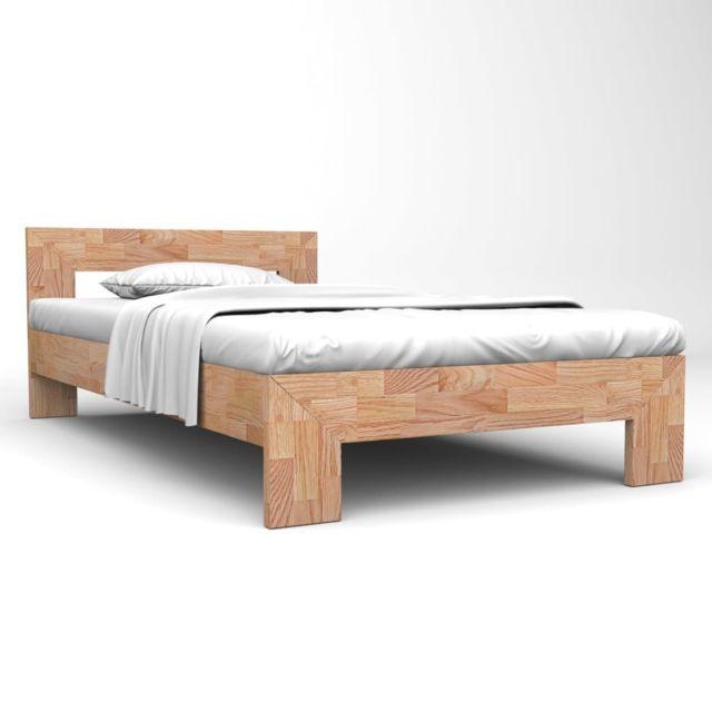 vidaxl cadre de lit 140x200 cm bois de chene massif