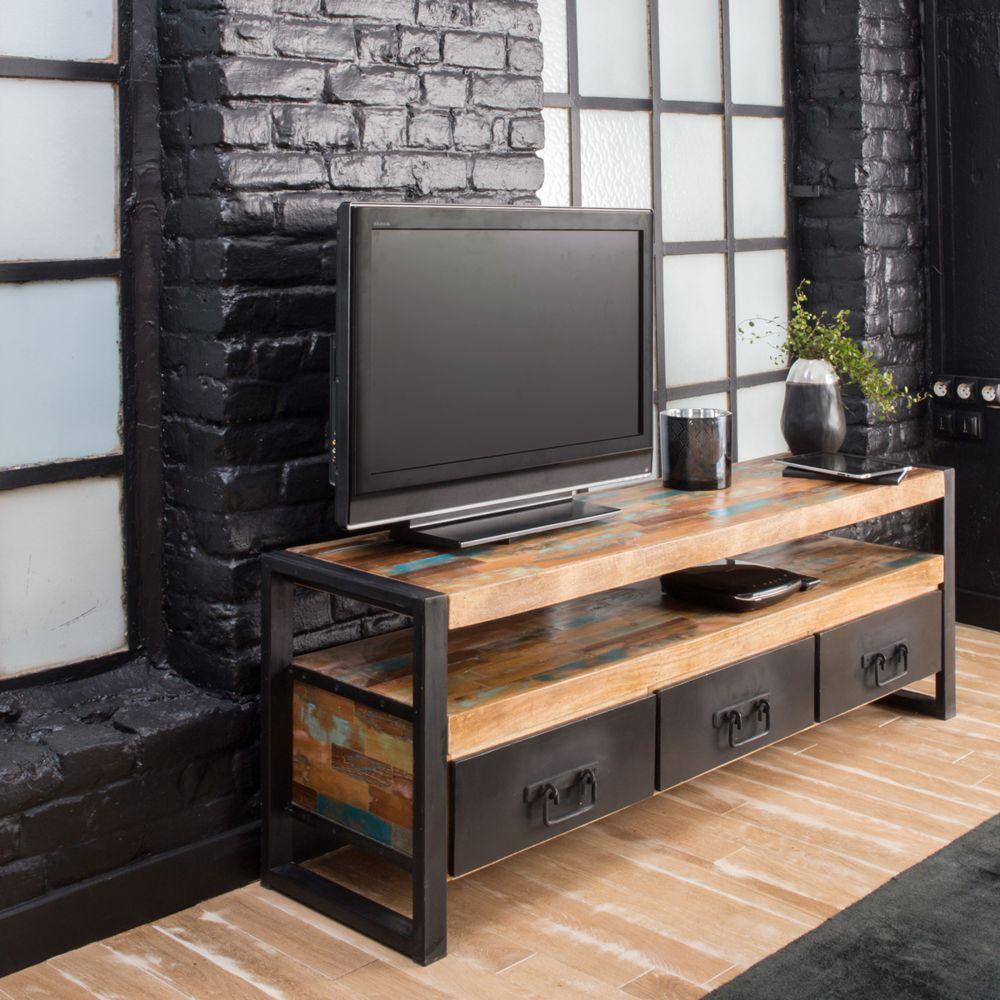 meuble tv industriel 3 tiroirs bois et