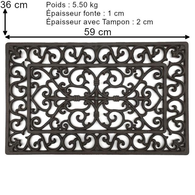 tapis paillasson fonte gratte pied fonte de jardin d entree 59 cm x 36 cm et