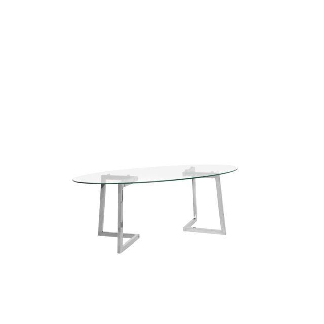 beliani table basse argente et plateau en verre fresno transparent