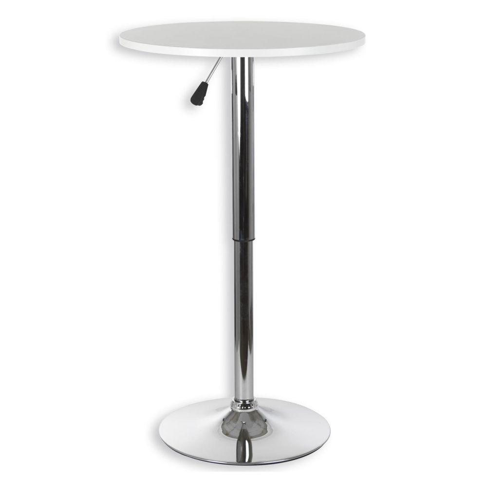 idimex table haute de bar vista table bistrot ronde mange debout hauteur reglable avec plateau en mdf blanc et socle en metal chrome