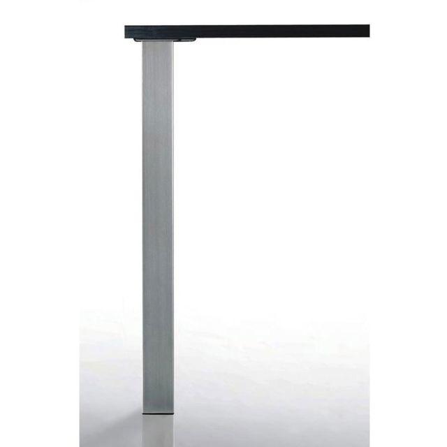 pied de table quadra 100x100 decor nickel mat hauteur 700 mm camar