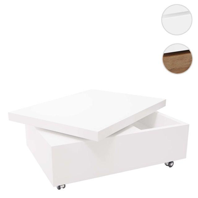 table basse de salon hwc g82 34x80x60cm pivotante couleur blanche terne