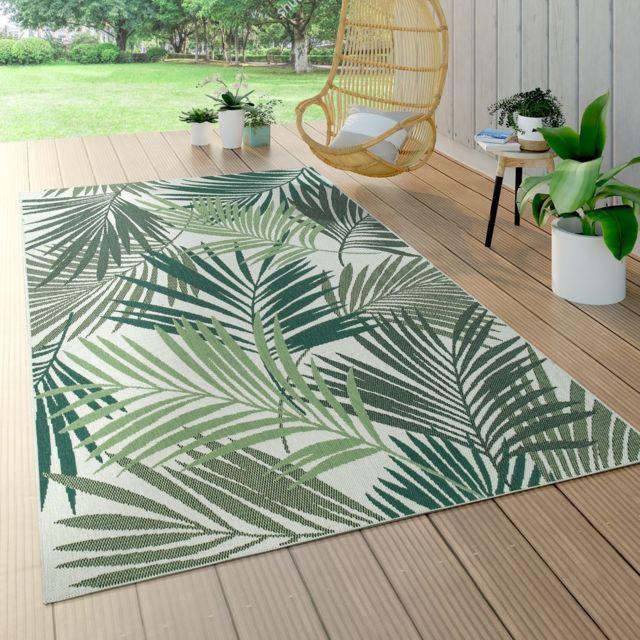 tapis interieur exterieur tissage a plat jungle decoupe design palmiers