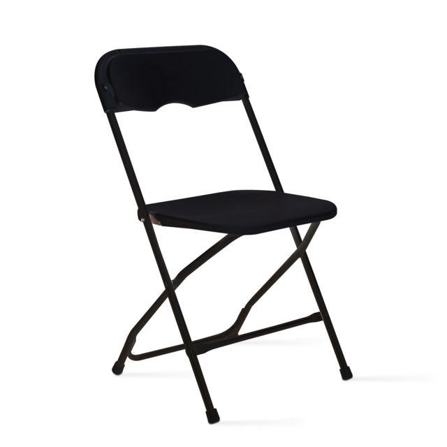 chaise pliante noire en plastique