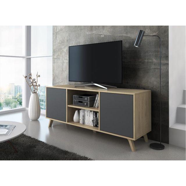 meuble tv 140 2 portes puccini et gris anthracite