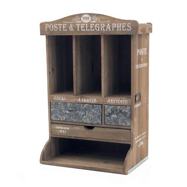 boite meuble poste a lettre courrier murale ou poser bois zinc 58 cm