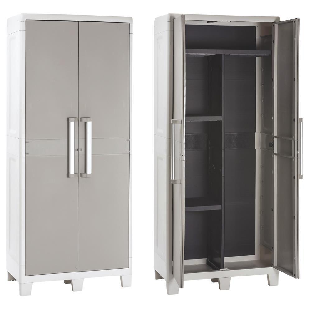 marque generique armoire haute de jardin en resine avec tablettes range balai tourterelle urbanxl