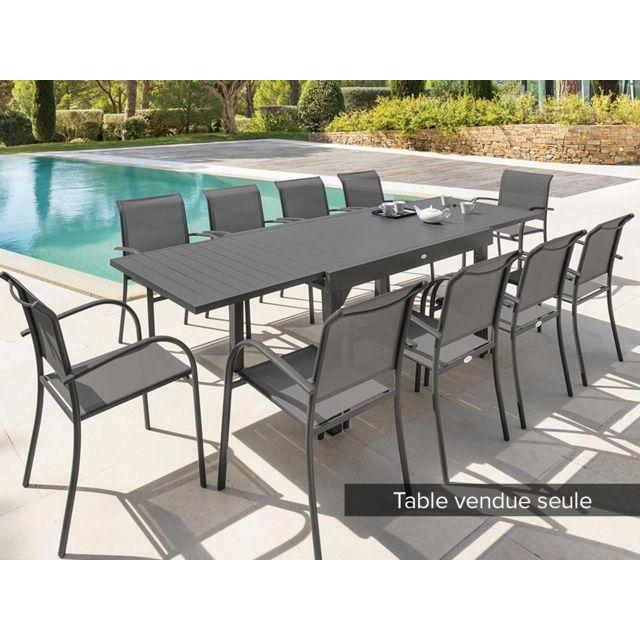 table extensible rectangulaire alu piazza 6 10 places gris quartz hesperide