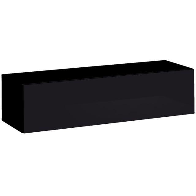 meuble de rangement suspendu noir design swiden