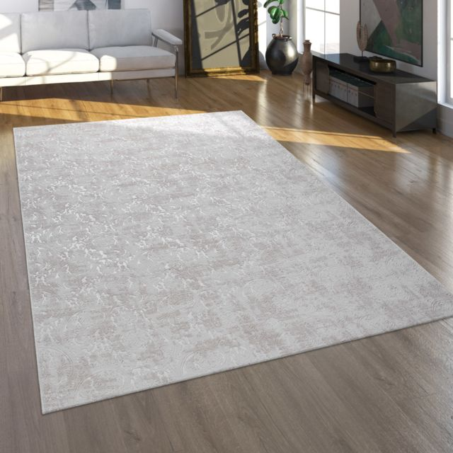 tapis tapis poils ras pour salon au look oriental lavable beige