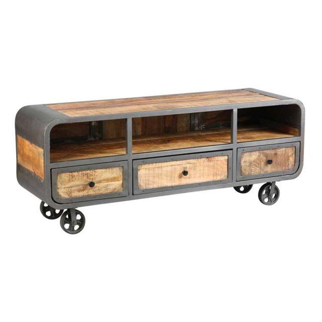 meuble tv 3 tiroirs acier bois massif chalerston