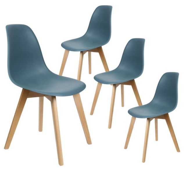 melya lot de 4 chaises scandinaves bleu canard