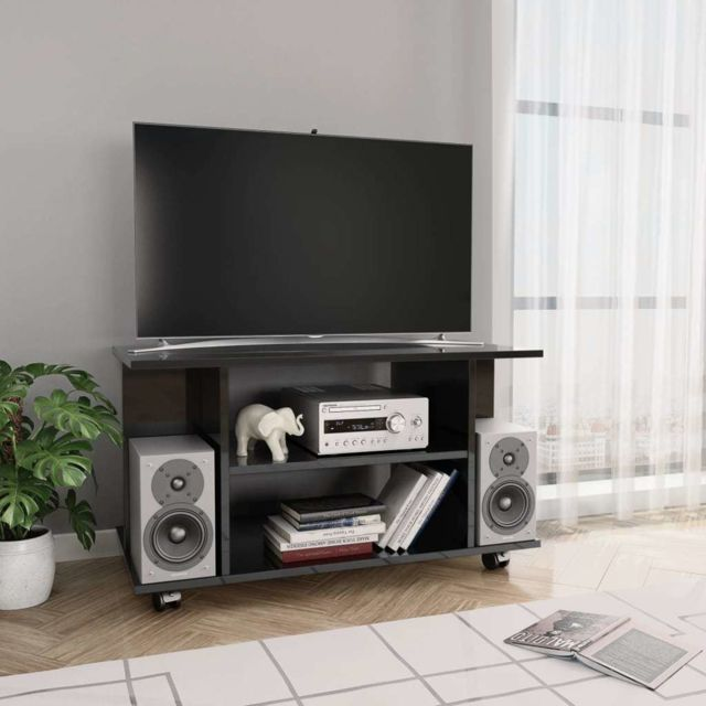 splendide meubles edition monrovia meuble tv avec roulettes noir brillant