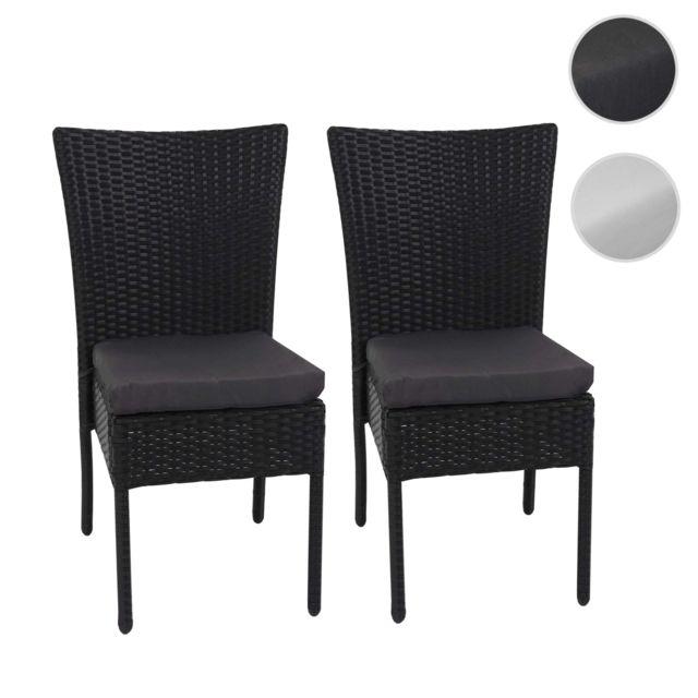 2x fauteuil en polyrotin hwc g19 chaise pour jardin ou balcon empilable